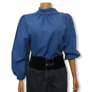 VTG JC Penny Blue Blouse Fold  mock long sleeve